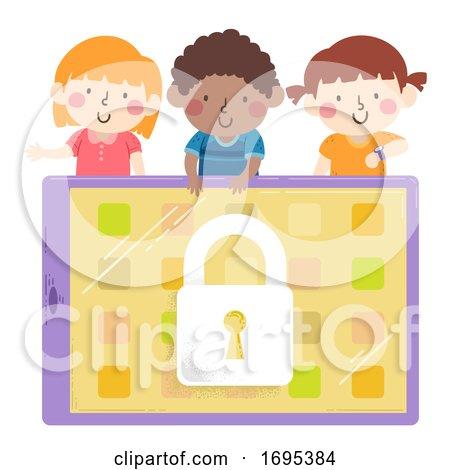 Kids Wait Locked Tablet Illustration by BNP Design Studio