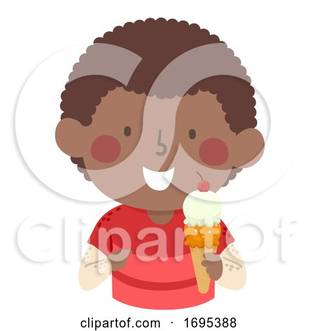 Kid Boy African Eat Ice Cream Illustration by BNP Design Studio