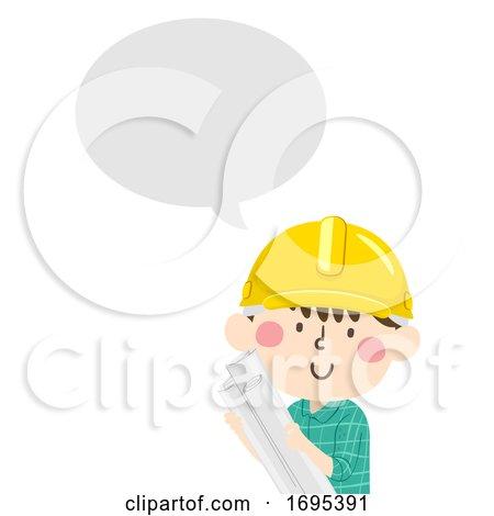 Kid Boy Construction Engineer Speech Bubble by BNP Design Studio