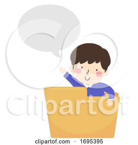 Kid Boy Folder Speech Bubble Illustration by BNP Design Studio