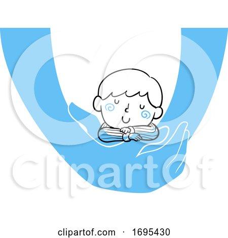 Kid Boy Held Sleeping Illustration by BNP Design Studio