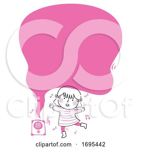 Kid Girl Dance Speech Bubble Illustration by BNP Design Studio