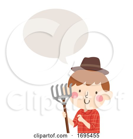 Kid Boy Farmer Rake Speech Bubble Illustration by BNP Design Studio