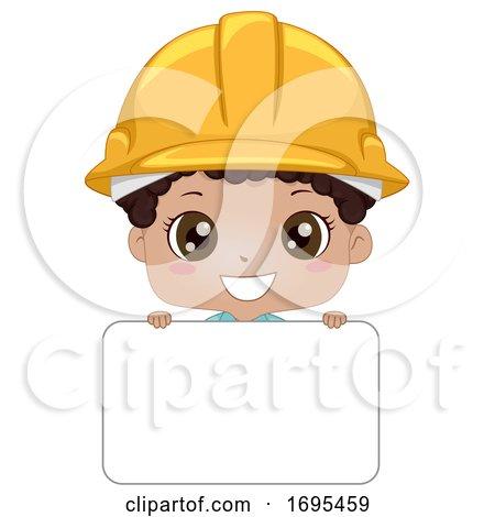 Kid Boy Black Engineer Name Tag Illustration by BNP Design Studio