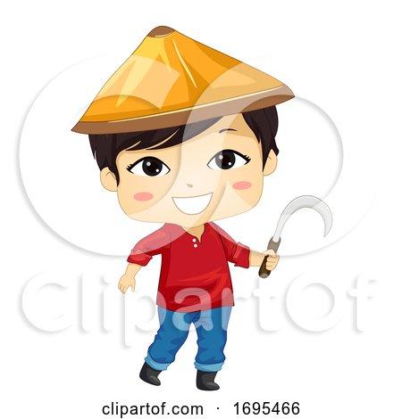 Kid Boy Asian Farmer Sickle Illustration by BNP Design Studio