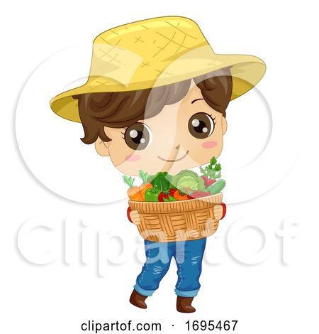 Kid Boy Farmer Carry Vegetables Illustration by BNP Design Studio