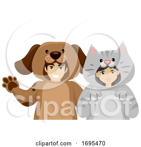 Teen Couple Domestic Animal Costume Illustration by BNP ...