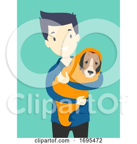 Man Animal Rescue Dog Illustration by BNP Design Studio