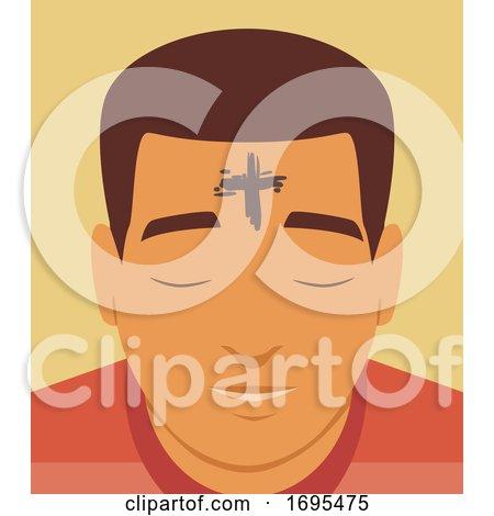 Man Cross Forehead Ash Wednesday Illustration by BNP Design Studio