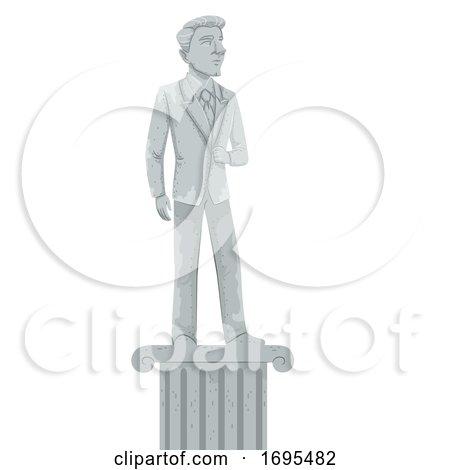 Man Hero Statue Illustration by BNP Design Studio