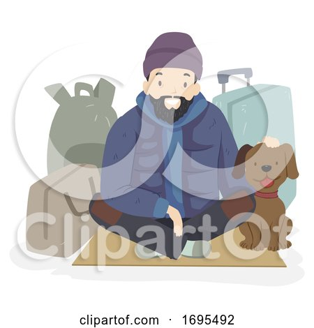 Man Homeless Dog Pet Bags Illustration Posters, Art Prints