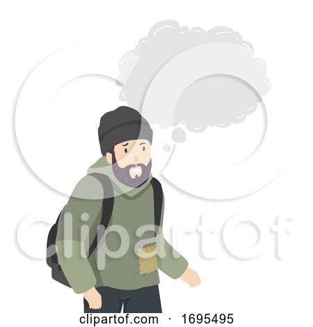Man Homeless Thinking Cloud Illustration by BNP Design Studio