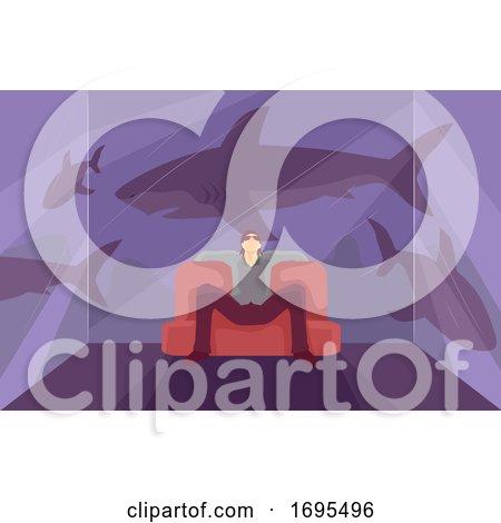 Man Metaphor Sharks Dangerous Person Illustration by BNP Design Studio