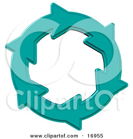 Environmental Clipart Illustration Image of a Blue Circle of Water Arrows Moving in a Clockwise Motion, Symbolizing Recycling, Saving Water, Materials or Energy by djart