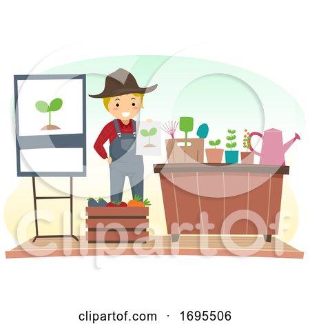 Stickman Man Gardening Speaker Illustration by BNP Design Studio