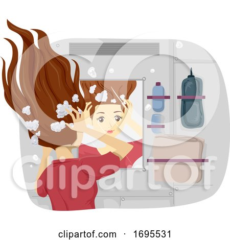 Teen Girl Life in Space Wash Hair Illustration by BNP ...