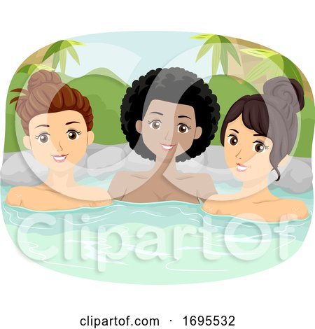 Teen Girls Onsen Bath Outdoor Illustration by BNP Design ...