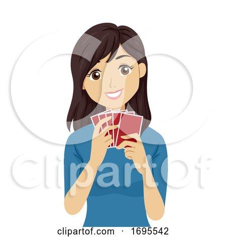 Teen Girl Card Game Illustration by BNP Design Studio #1695542