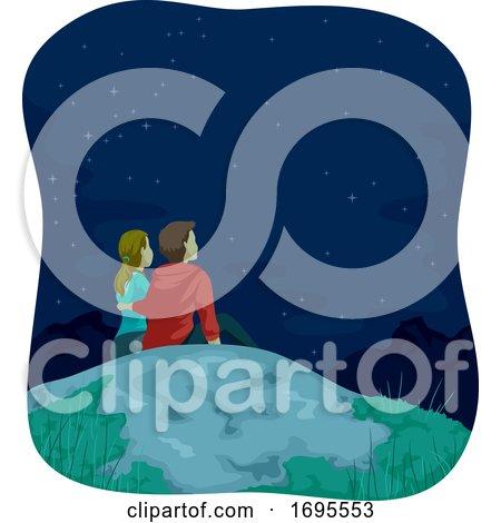 Couple Mountain Top Stargazing Illustration by BNP Design Studio