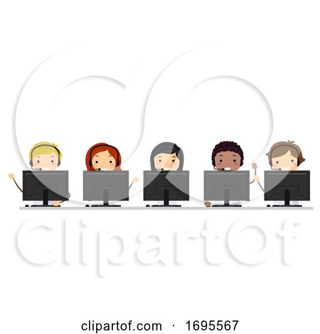 Stickman Teens Hotline Computer Illustration by BNP Design Studio