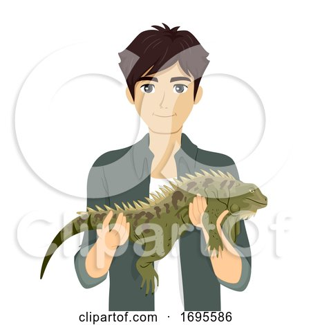 Teen Boy Hold Reptile Iguana Illustration by BNP Design ...