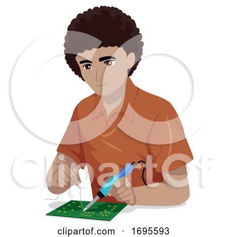 Teen Guy Black Engineering Chip Illustration by BNP Design ...