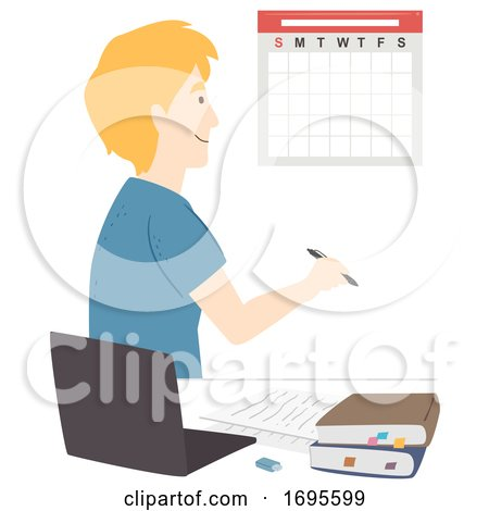 Teen Guy Study Plan Calendar Illustration by BNP Design ...
