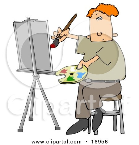 Red Haired Male Artist Sitting on a Stool and Holding a Palette While Oil Painting a Portrait on a Canvas on an Easel Posters, Art Prints