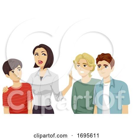 Teens Guy Mom Keep Friends Away Illustration by BNP Design Studio