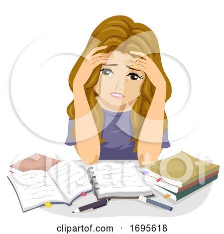 Teen Girl Study Stressed Illustration by BNP Design Studio