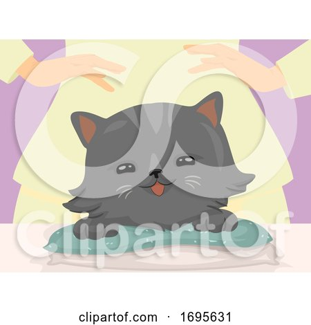 Cat Hand Reiki Massage Illustration by BNP Design Studio