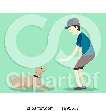 Man Dog Command Lie down Illustration Posters, Art Prints
