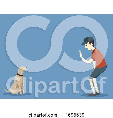 Dog Basic Command Stay Man Illustration Posters, Art Prints