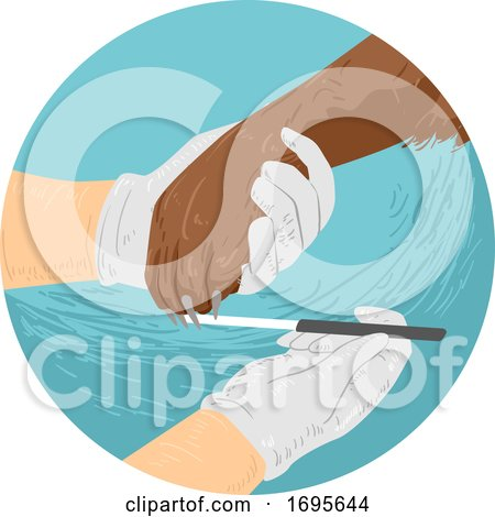 Dog Hand Nail File Illustration Posters, Art Prints