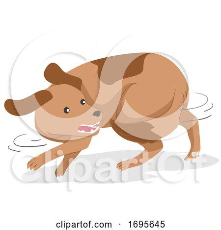 Dog Pet Chase Tail Illustration Posters, Art Prints