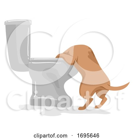 Dog Pet like Toilet Illustration Posters, Art Prints