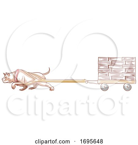 Dog Pit Bull Weight Pulling Illustration Posters, Art Prints