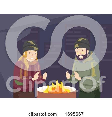 Men Homeless Fire Winter Illustration by BNP Design Studio