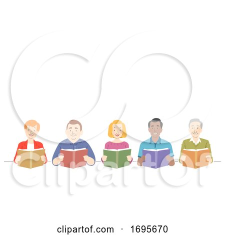 Seniors Reading Books Illustration by BNP Design Studio