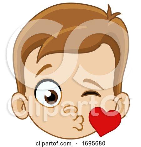 Loving Boy Blowing a Kiss Posters, Art Prints