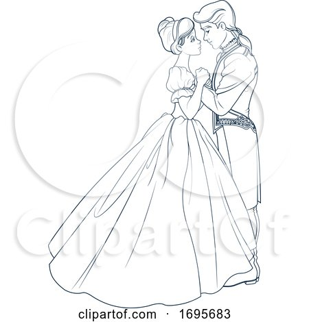 Black and White Cinderella Dancing with Her Prince by Pushkin