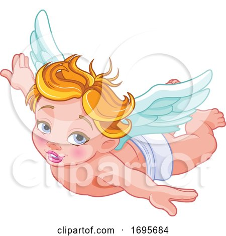 Flying Blond Caucasian Baby Cupid by Pushkin