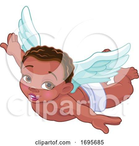 Flying Black Baby Cupid by Pushkin