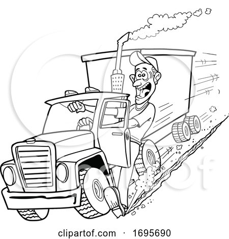 Cartoon Trucker Using His Foot to Stop a Tractor Trailer by LaffToon