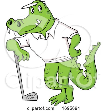 Cartoon Alligator Leaning on a Golf Club by LaffToon