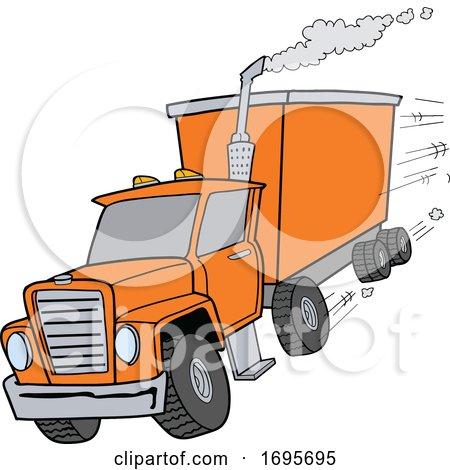 Cartoon Orange Tractor Trailer by LaffToon