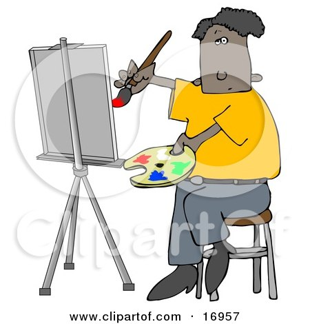 Black Male Artist Sitting On A Stool And Holding A Palette While Oil Painting A Portrait On A Canvas On An Easel Posters, Art Prints