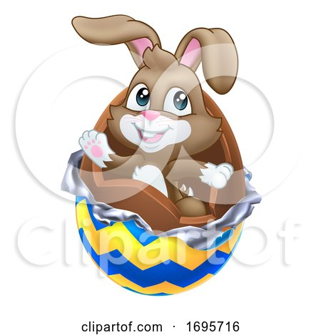Easter Bunny Rabbit Breaking out of Chocolate Egg Posters, Art Prints
