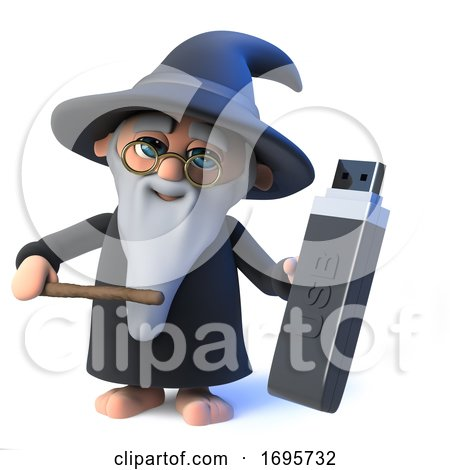3d Funny Cartoon Wizard Magician Character Holding a USB Drive by Steve Young