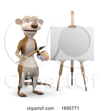 3d Meerkat Is an Artist Posters, Art Prints